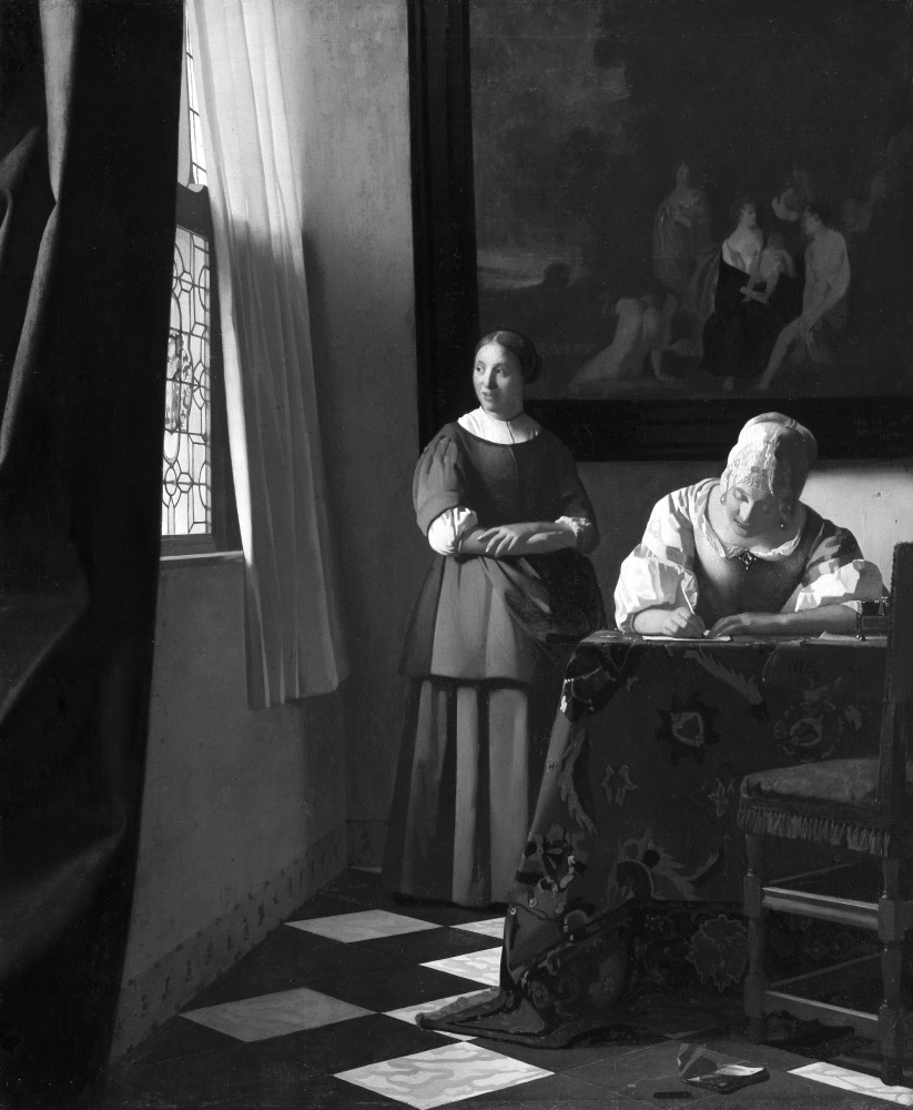 Johannes Vermeer (1632-1675): Woman Writing a Letter with Her Maid (c.1670). Oil on canvas. 72.2 x 59.7 cm. NGI.4535. National Gallery of Ireland, Dublin, Sir Alfred and Lady Beit, 1987 (Beit Collection). Photo © National Gallery of Ireland