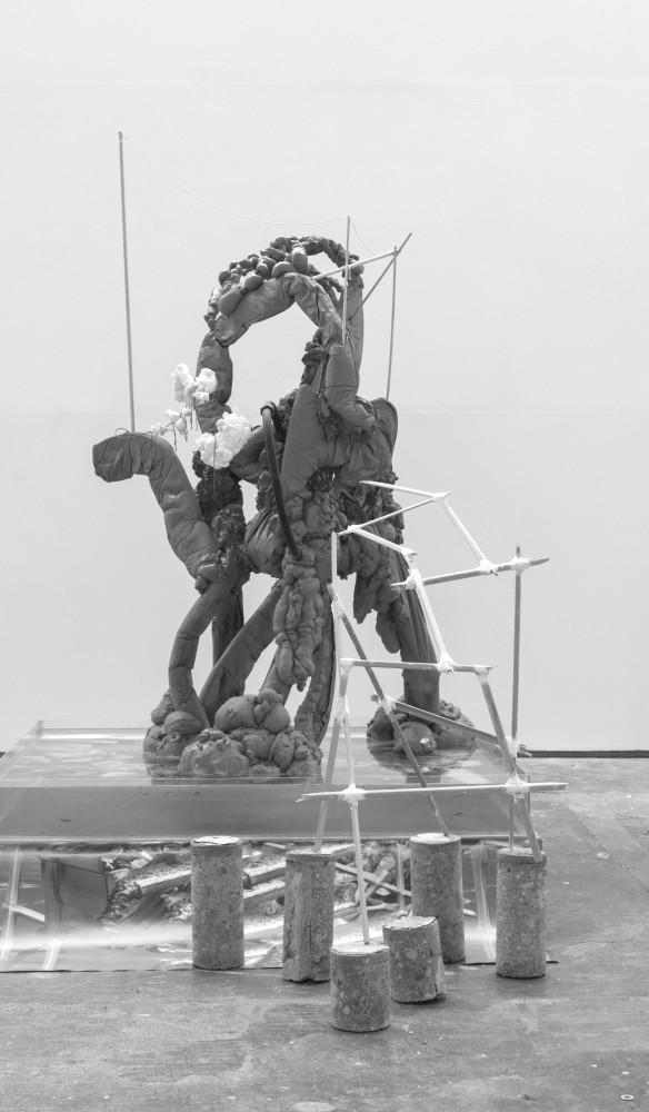 Kian Benson Bailes: An Urban Phenomenon (2017). Plastic, wire, thread, water, plexiglas, expanding foam, wood, string, digital print, paint, varnish, concrete. Image courtesy of the artist. Photo: Jonathan Sammon.