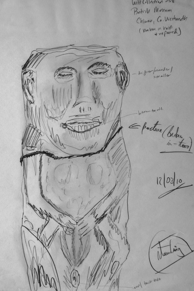 Sheela-na-Gig (Chloran, Westmeath) housed in the British Museum. Granite. 47 cm high. Sketch. © Benjamin Dwyer.