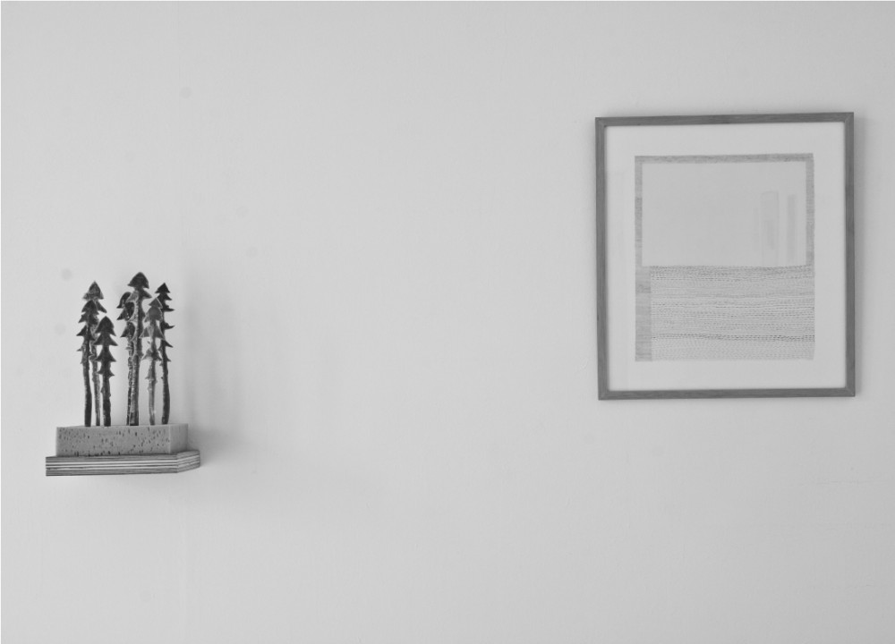'Scapes' (left) 2011, Dandelion leaves, parcel tape, wire, sponge, wooden shelf. 'Between there and here and there' (right) 2011, graphite and coloured pencil on paper, framed. Courtesy of the artist.