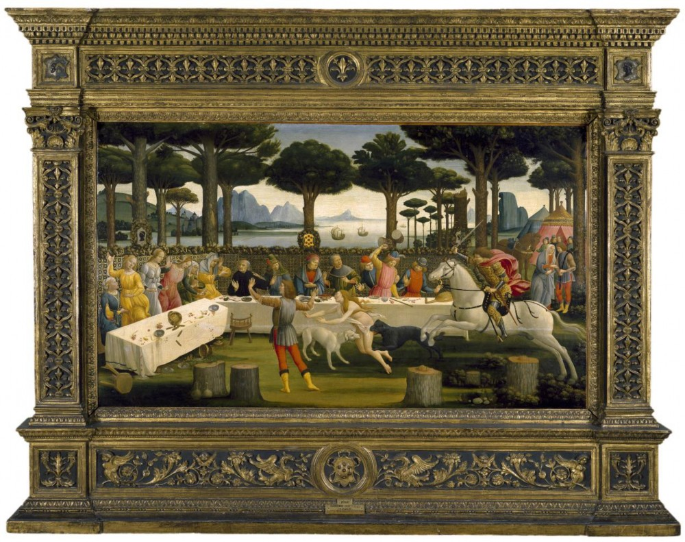Sandro Botticelli: The Story of Nastagio degli Onesti (III) (c.1483). Mixed media on panel. 84 x 142 cm. © 2013 Museo Nacional del Prado.