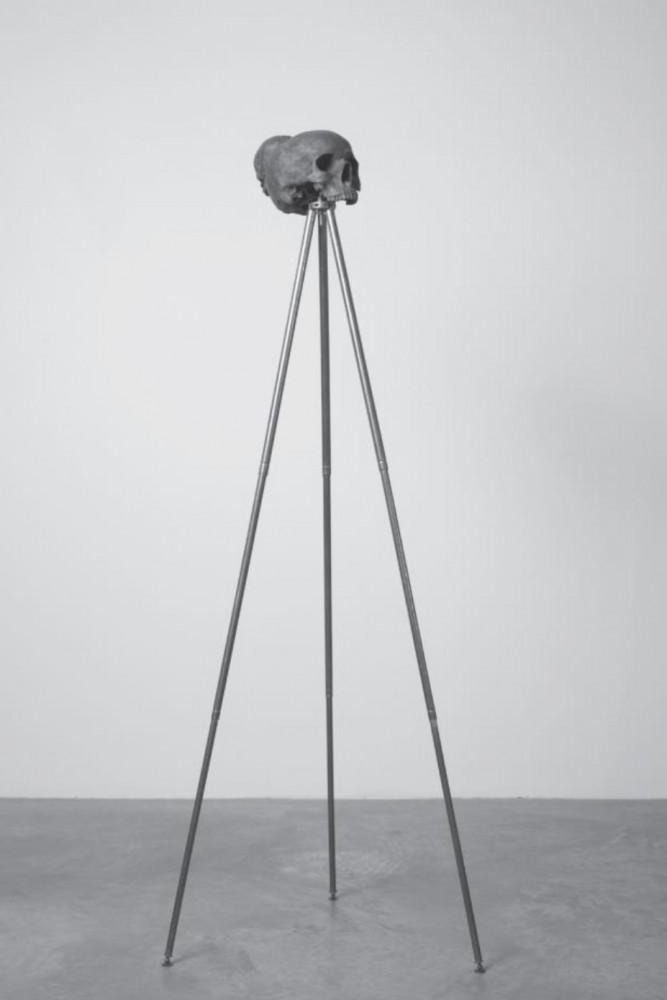 Dorothy Cross: Sapiens (2007). Cast bronze skull and antique brass tripod,128 x 49 x 49 cm, 25 x 15 x 25 cm. Courtesy of Dorothy Cross and Kerlin Gallery, Dublin.