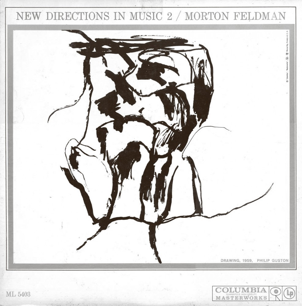 Morton Feldman: New Directions in Music 2 (1959). Vinyl LP cover. Columbia Records (Columbia Masterworks). Cover image: Philip Guston: Head – Double View (1958 sic). Ink on paper.