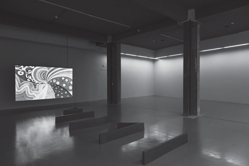 Priscila Fernandes: Against the Enamel (2014). Installation view. Video animation on LED wall, cast iron sculptures and removal of cladding from pillars. Photography by Kasia Kaminska.